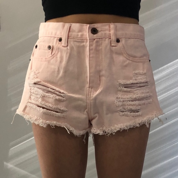 Forever 21 Pink Ripped Denim Shorts Size: 26